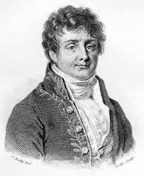 De forma a ilustrar o texto vemos esta figura. De seguida vemos um retrato do Senhor Fourier. Efetivamente, este senhor que viveu no seculo XIX é muito importante. De facto foi ele que descobriu o principio matemático da Transformada de Fourier. Devido a isto é que ela tem o seu nome